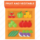 food kiosk, fruits stall, street food, street stall, vegetables stall icon