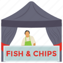 fish chips, fish stall, food stall, fried fish, seafood stall icon