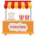 fast food, popcorn booth, popcorn stall, street food, street stall icon