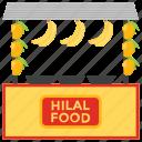 food cart, food stall, hilal food, street food, street stall icon