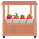 berries shop, fruit cart, fruit stall, street food, street stall icon