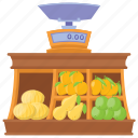 fruit kiosk, fruit shop, fruit stall, selling fruits, street stall icon