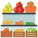 food shop, food stall, street stall, vegetable kiosk, vegetable stall icon
