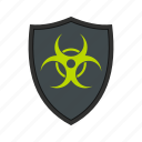 biohazard, danger, protect, protection, shield, toxic, warning icon