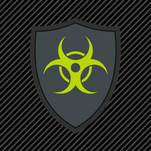 biohazard, danger, protect, protection, shield, toxic, warning icon
