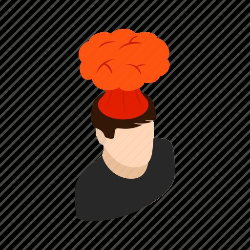 background, brain, exploding, head, isometric, volcanic, volcano icon