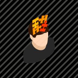 background, head, idea, isometric, man, mind, puzzle icon