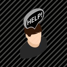 background, depressed, head, help, isometric, people, sad icon