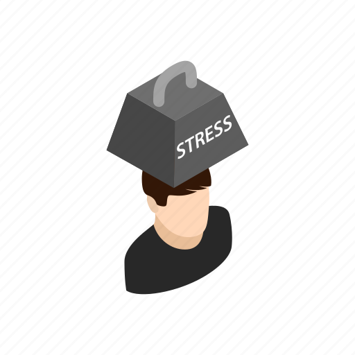 background, head, isometric, man, person, stress, weight icon