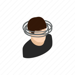 background, dizziness, dizzy, head, human, isometric, sick icon