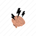 background, brain, idea, intelligence, isometric, lightning, storm icon