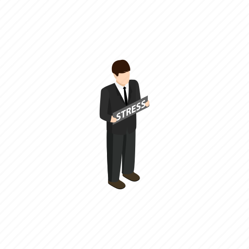 background, business, isometric, man, office, problems, stress icon