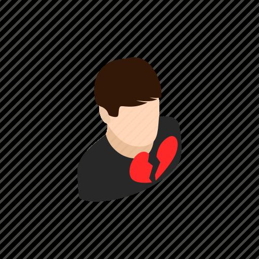 background, broken, heart, isometric, love, man, sad icon