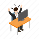 background, business, businessman, isometric, situation, stress, work icon