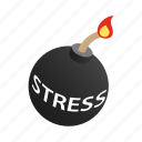 background, bomb, burning, danger, fuse, isometric, stress icon