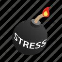background, bomb, burning, danger, fuse, isometric, stress