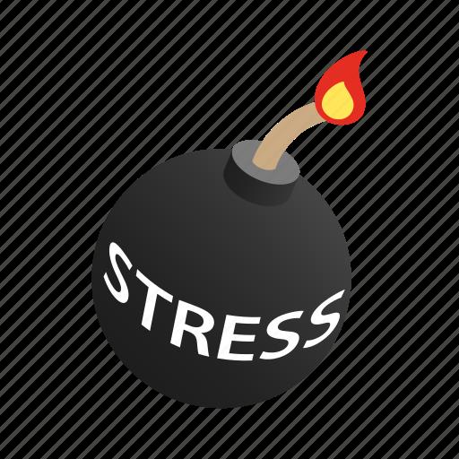 background, bomb, burning, danger, fuse, isometric, stress icon