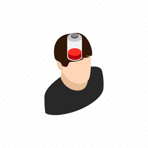 background, battery, business, charge, isometric, low, man icon