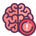 brain, caution, learning, think icon