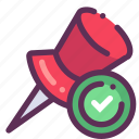 done, map, mark, success icon