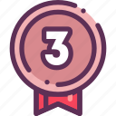 award, medal, place, third, win, winner icon
