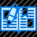 book, open, pen icon