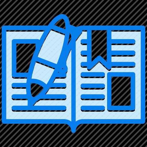 book, education, notebook, open, pen, school icon