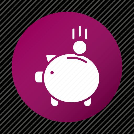education, finance, piggy bank, school, study icon