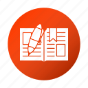 book, education, open, pen, school, study icon