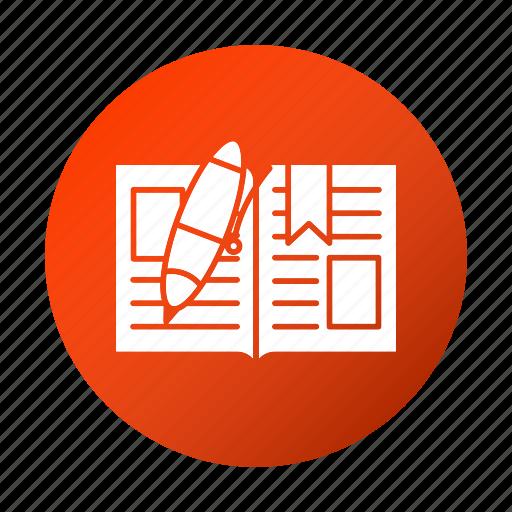 book, education, open, pen, school, study icon