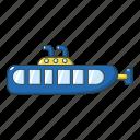 cartoon, marine, object, ocean, periscope, submarine, underwater