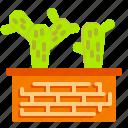 brick, cactus, plant, pot, succulent, vas icon