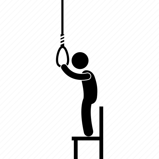 chair, hang, hanging, himself, man, rope, suicide icon