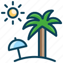 coconut tree, holiday, sea, summer vacation, sun, umbrella
