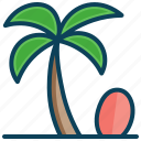 beach, coconut tree, holiday, sea, summer vacation, surfboard, surfing icon