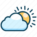 daytime, hot sun, partly cloudy, summer, sun, sunny day, temperature icon