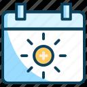 calendar, summer, summer event, summer holidays, summer vacation, sunny day icon