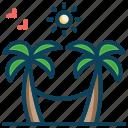 beach, coconut trees, hammock, hammock swing, palm trees, resort, vacation