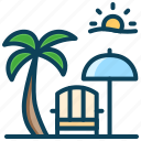 beach, holiday, resort, rest, summer vacation, umbrella icon