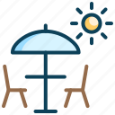 beach restaurant, holiday, resort, rest, umbrella, vacation icon