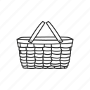 basket, camping, carry, food, picnic, picnic basket, summer icon
