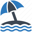 beach, umbrella, vacation icon