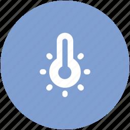 celsius, fahrenheit, high temperature, hot day, temperature, thermometer icon