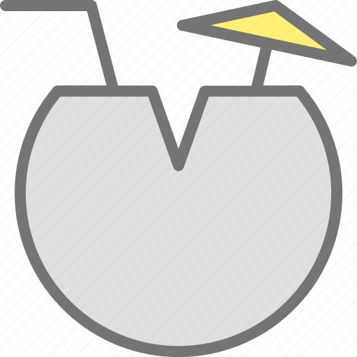 beach, coconut, drink, fruit, ice, vacation icon
