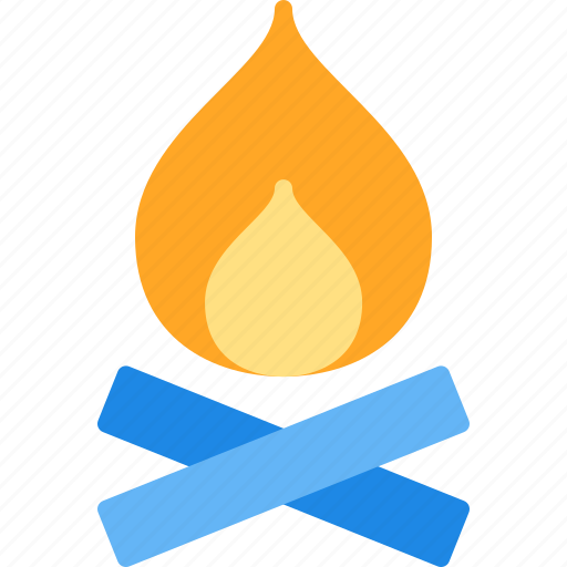 camp, fire, night, vacation, warm icon