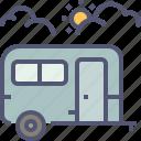 tourist, camping, bus, travel, vacation, tour, caravan icon