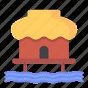 architecture, beach, bungalow, home, hut, travel icon