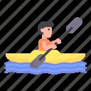 canoe, kayak, kayaking, people, rafting, sports, transportation icon