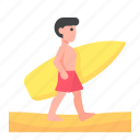 beach, man, people, sports, summer, surf, surfer icon