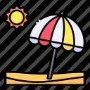 beach, holidays, island, landscape, nature, sun, umbrella